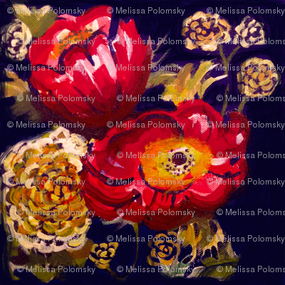 Red Poppies and Golden Flowers on Navy