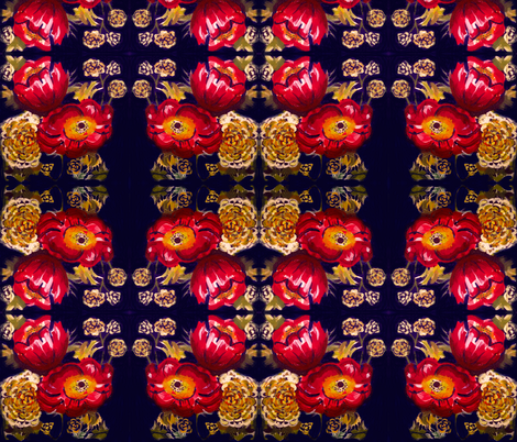 Red Poppies and Golden Flowers on Navy fabric by theartwerks on Spoonflower - custom fabric