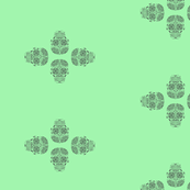 4 Sugar Skulls On Green