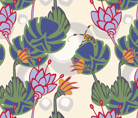 Lilies and eggs fabric by motyka on Spoonflower - custom fabric