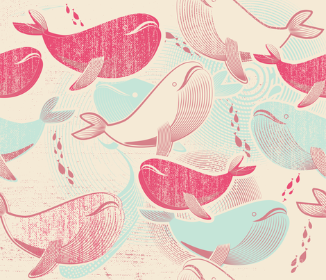 The Whales Reunion fabric by chickoteria on Spoonflower - custom fabric