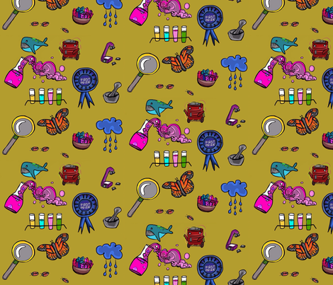Science fair in mustard fabric by betsymeredith on Spoonflower - custom fabric
