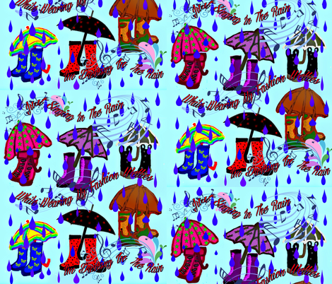 Singing In Rain In Fashion Wellies fabric by charldia on Spoonflower - custom fabric