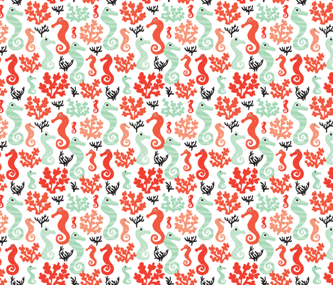 Seahorses and coral ocean under water world fabric by littlesmilemakers on Spoonflower - custom fabric