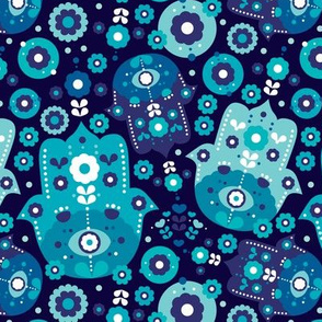 Blue oriental hamsa