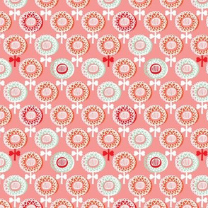 Retro poppy spring flowers