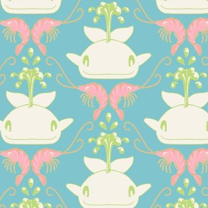 Whale & Shrimp Damask Pastels