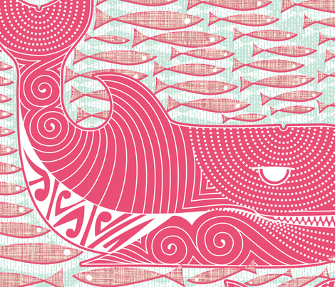 Orca Dreams the Salmon fabric by spellstone on Spoonflower - custom fabric
