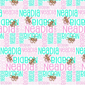 Personalised Name Design - Girl Monkeys Pink and Mint