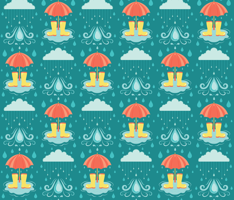 Looks Like Rain - Downpour fabric by lunasol on Spoonflower - custom fabric