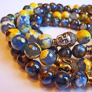 Blue and Yellow Agate with Buddha in Gold and Silver