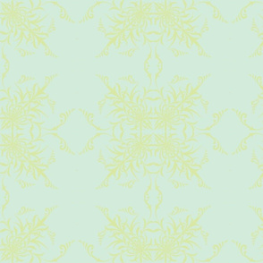 Baby Blue Damask w/yellow
