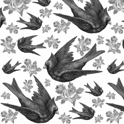 CARDINALS IN SILVER fabric by bluevelvet on Spoonflower - custom fabric