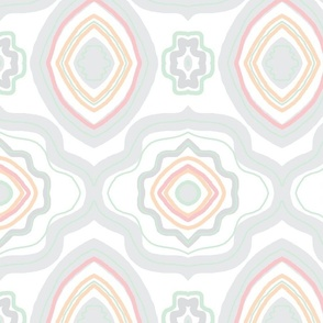 Soft Gray Peach Motif