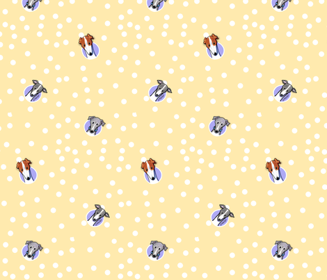 Greyhounds on Dotted Yellow fabric by kiniart on Spoonflower - custom fabric