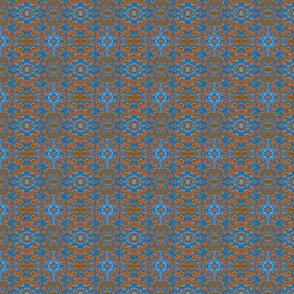 Heart Village Orange and Blue