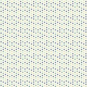cream blue dots
