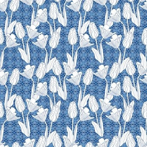 Tulip Sketches on Delft Tiles