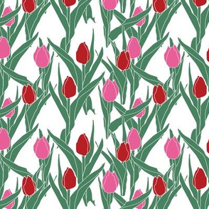 Stylized tulips in pink and scarlet