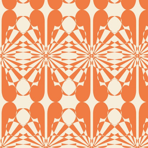 Searchlights -- in tangerine and vanilla to match cheater patchwork quilt design palette