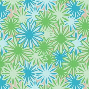 Hippie-Dippie daisies -- greens and blues on beige