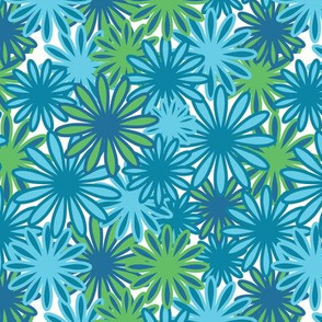 Hippie-Dippie daisies -- in greens, teals, and blues