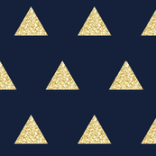 gold glitter triangles on navy