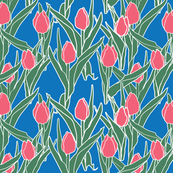 Stylized pink tulips on blue