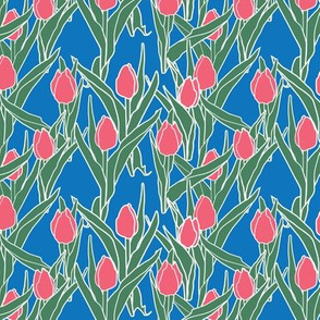 Stylized pink tulip bed on blue