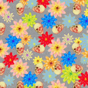 Fantasy floral and skulls grey