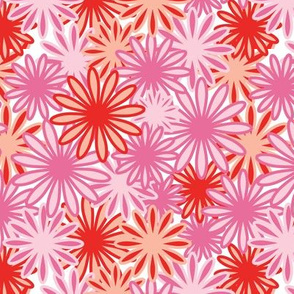 Hippie-Dippie daisies -- in pink and scarlet