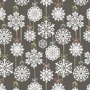12 Joys of Christmas Snowflakes: Gray