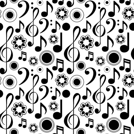 Music Notes and Clefs - Black and White