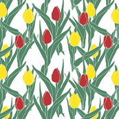 Tulips in gold and crimson