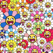 TAKASHI MURAKAMI inspired happy Flowers blossom Kaikai kiki awesome face epic smiley smiling superflat pop art japanese meme 4chan rage comics rainbow  colorful multi colored colors emoji