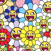 TAKASHI MURAKAMI inspired happy Flowers blossom Kaikai kiki awesome face epic smiley smiling superflat pop art japanese meme 4chan rage comics rainbow  colorful multi colored colors