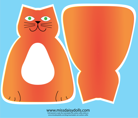 marmalade_cat_cushion_softie fabric by missdaisydolls on Spoonflower - custom fabric