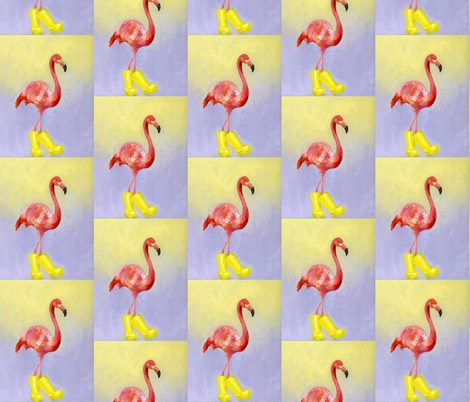 Flamingo in Boots fabric by claredean on Spoonflower - custom fabric