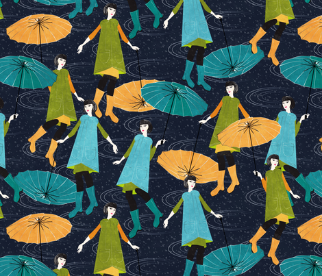 dancing in the rain fabric by kociara on Spoonflower - custom fabric
