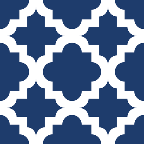Lattice Navy on White - XL fabric by juliesfabrics on Spoonflower - custom fabric