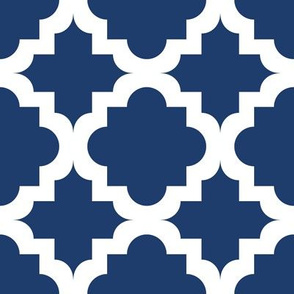Lattice Navy on White - XL