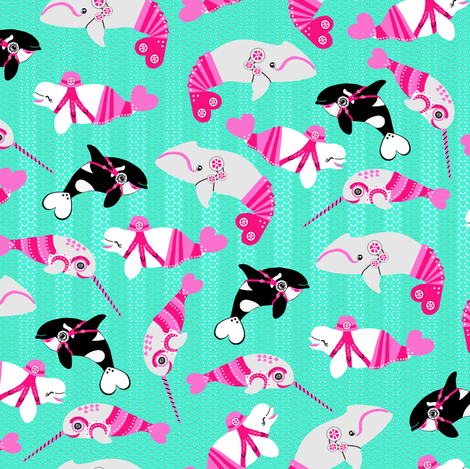 Kawaii Steampunk Whales <3 fabric by eclectic_house on Spoonflower - custom fabric