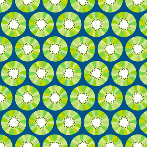 Kiwi Fruit - Navy fabric by siya on Spoonflower - custom fabric