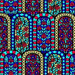 India Floral Stained Glass Window Scales