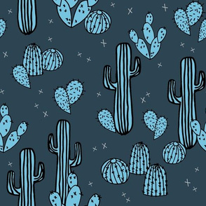 Cactus & Prickly Pears - Parisian Blue/Soft Blue by Andrea Lauren