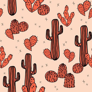 Cactus & Prickly Pears - Coral/Tea Rose by Andrea Lauren