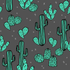 Cactus & Prickly Pears - Charcoal/Light Jade by Andrea Lauren