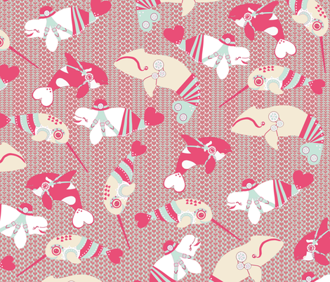 Kawaii Steampunk Whales 2 fabric by eclectic_house on Spoonflower - custom fabric