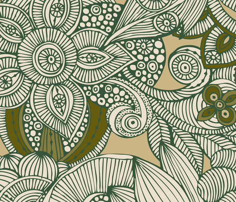 Green doodles fabric by valentinaharper on Spoonflower - custom fabric