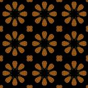 Floral Burst on Black, Sepia Version 2
